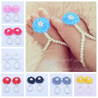 Wholesale rings stretch bands - New Arrival kids Flower Sandals baby Barefoot Sandals Barefoot Foot Flower Ties Newborn Baby Girls Foot Band Toe Rings Anklets Kids KFA44