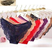 calças transparentes sexy feminino venda por atacado-Mulheres de Alta-Virilha Transparente Cuecas Cuecas Senhoras Sexy Lace Floral Bowknot Tangas G Cordas para Lingerie Feminina