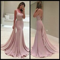 Wholesale Mermaid Prom Dresses Online - Simple Satin Long Prom Dresses With Beads Scoop Mermaid Evening Gowns Backless Formal Women Special Occasipn Prom Party Gowns Online