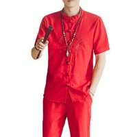 ingrosso camicia dragon kung fu-Cinese Vintage Uomo Nuovo ricamo Dragon Tang Suit Estate manica corta in cotone Lino Kung Fu Set Casual ShirtPants 3XL 4XL 5XL