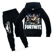 Wholesale kid cool clothes online - Cool Year Cartoon Fortnite Teenager Children Kids Hoodies Pants Sweatshirts for Spring Autumn Big Boys Girls Hooded Clothing Set