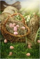 ingrosso pavimenti in vinile verde-Vinyl Foto sfondo per i bambini le uova di Pasqua Basket Bokeh Luce del sole Legno Log Green Grass Piano Bambino appena nato Fotografia Fondali Primavera