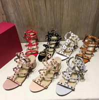 Wholesale eva wedge flip flops - 2018 New Fashion Summer Shoes High Flip Flops For 39 S Rivet Ladies Sexy Sandals Wedges Leather Cross Strap Flat Hight-Heel 6.5cm