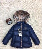 Wholesale month baby boy styles online - Ultralight Autumn Winter Kids Boys girls Jacket fashion Outerwear Warm baby Hooded Jacket Children Cotton Padded Jackets