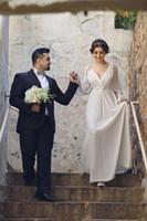 Wholesale vintage goddess wedding dresses for sale - Group buy beach greek goddess Wedding Dresses with Long Sleeve Cut bow Floor Length V Neck Elegant Chiffon garden plus size Bridal Gowns
