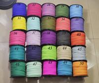 weiche lederarmbänder großhandel-100yard / lot 3mm flache Faux Wildleder Lederband, DIY Leder String Cord Supplies, Faux Wildleder Spitze, DIY Halskette / Armband weiche flache Schnur