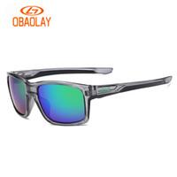 schwarze quadratische brillengläser großhandel-OBAOLAY Männer Sportbrillen Marke mit O-Logo Straightlink Herren fahren Sonnenbrille matt schwarz quadratischen Rahmen Brille antiUV400