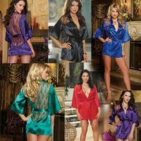 bata lenceria de cuerda al por mayor-5 colores Mujeres Kimono de Albornoz de Encaje con Tanga Cinturón de Lencería Sexy Bata de Noche Pijamas Bata T2I241