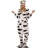 Wholesale cosplay cow online – ideas Adult Women Animal Pajamas Flannel Pajama Sets Pijama Cartoon Cows Cosplay Warm Sleepwear Homewear Sleepwear for Women Men