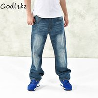 Wholesale New Men Fashion Look - GODLIKE 20017 male autumn and winter's new baggy and fat-looking jeans Men's fashion leisure jeans Men size denim pants