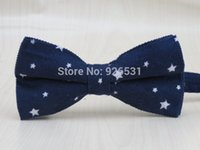 Wholesale corduroy fabric wholesale - 100% corduroy fabric men's dark blue bowtie  white Small five-pointed star pattern fashion leisure style bow tie free shipping