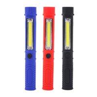 kugelschreiber taschenlampe großhandel-Multifunktions LED Taschenlampe Mini Stift Licht Hanheld Taschenlampe Auto Auto Inspektion Reparatur Werkzeuge COB Bottom Magnet