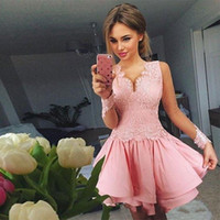Wholesale baby light pink lace for sale - Group buy 2018 Cheap Baby Pink Homecoming Dresses V Neck Lace Appliques Tiered Ruffles Sheer Long Sleeves Short Mini Party Graduation Cocktail Gowns