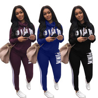 Wholesale Boxing Tshirt - Pink Women Tracksuits Joggers Set High Neck Long Sleeve Tshirt Tops Pullover+Leggings Pants VS Love Pink Letter Outdoor Clothing Sportwear