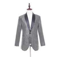 Wholesale Men Satin Waistcoat - 2017 New Arrival Men Suit Jacket Casual One Button Shinny Pattern Black Satin Lapel Slim Fit Wedding Tuxedo Waistcoat 1 Piece