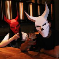lustige tiergesichtsmaske groihandel-King of Ghost Kopf Gesicht Erwachsenen Karton atmungsaktiv Halloween Party Decor Cosplay Kostüm Tier Maske DIY Party knifflige lustige Maske