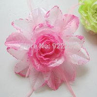 Wholesale large brooch flower pins - Large Fabric Artificial Silk Glitter Roses,feather with Pin,Elastic Cord,flower girl hair wreath,wrist corsages,Wedding brooch