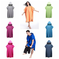 Wholesale poncho for summer online - 8 Colors Beach Towel Microfiber Bathrobe Poncho Hooded Washrag Multicolor Absorbent Quick Drying Easy for Changing Cloth CCA10516
