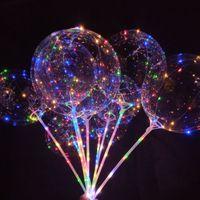 iluminação de decoração de balões venda por atacado-Natal 20 Polegada Partido Luminoso LED Balão Transparente Colorido Piscando Balões de Iluminação com 70 cm Pole Wedding Party Decorations