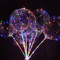 balon kutupları toptan satış-Noel 20 Inç Işık Parti LED Balon Şeffaf Renkli Yanıp Sönen Aydınlatma Balonları ile 70 cm Kutup Düğün Süslemeleri