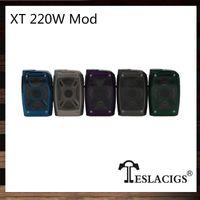 Wholesale alloy construction - Tesla XT 220W Box Mod X and T Design LED Lights with 7 Color RGB Mode Zinc Alloy Construction 100% Original