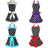 Wholesale Cleaning Accessories Home - Cute Round Dot Pinafore For Woman Housework Apron Home Kitchen Clean Accessory Multi Color 26dja C R