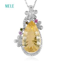 Wholesale beautiful amethyst for sale - Group buy MELE Natural amethyst and lemon quarts silver pendant pears mm mm deep color more beautiful than pictures