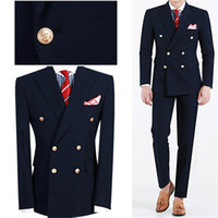 novio esmoquin verano al por mayor-Summer Navy Blue Mens Dinner Party Prom Suit Groom Tuxedos Groomsmen Wedding Blazer Trajes para hombres con estilo (chaqueta + pantalones)
