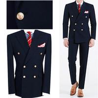 hommes blazers bleu marine achat en gros de-Été Marine Bleu Hommes Dîner De Soirée De Bal Costume Marié Tuxedos Groomsmen De Mariage Blazer Costumes Pour Hommes Élégant (Veste + Pantalon)