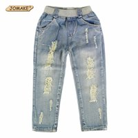 yeni stil kot pantolon çocukları toptan satış-2018 Yeni Stil Çocuk Kot Erkek Kız Pantolon Sonbahar Moda Tasarımcısı Çocuk Denim Pantolon Rahat Yırtık Kot 2 ~ 9 Yıl Y18103008