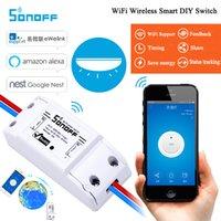 ev aydınlatma akıllı toptan satış-Itead Sonoff Temel Akıllı Wifi Anahtarı DIY Akıllı Kablosuz Uzaktan Anahtarı Domotica Wifi Işık Anahtarı Akıllı Ev Kontrol Alexa ile Çalışmak