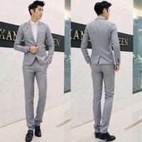 korean slim lazer ternos venda por atacado-Cor sólida coreano Slim Fit Casual Blazer terno do lazer terno dos homens único botão