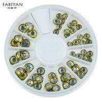 ingrosso fascini della ruota in lega-3D Tips Metallo Nail Art Wheel Lega d'oro Bordatura AB strass Glitter DIY Beauty Manicure Charms di cristallo Decorazione strumenti di gioielli