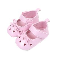 Wholesale baby white mary jane shoes online - Summer Baby Girls PU Leather Princess Heart Shaped Hollow Out Mary Jane Shoes Soft Bottom Crib Babe Dress Shoes
