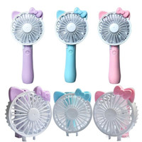 Wholesale Mini Folding Portable Fan Cartoon Cat USB Rechargeable Foldable Handheld Summer Air Cooler Fan Portable Handheld fan by dhl