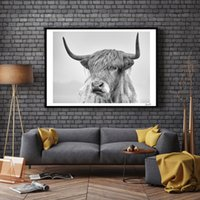 Wholesale Portrait Painting Art - Nordic Portrait of a Highland Cow Posters and Prints Wall Art Canvas Painting Pictures For Living Room Scandinavian Home Decor