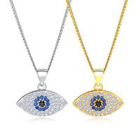iyi şanslar kristal kolye toptan satış-Altın Gümüş Mavi Nazar Kolye Kadınlar Için Iyi Şanslar Kristal Kolye Zincir Kolye Kolye Kadın Moda Takı KX676-679