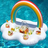 cup holder food tray 2018 - Rainbow Cloud Cup Holder Ice Bucket 4 Hold Inflatable Mattress Table Bar Tray Pool Party Drink Food Float Party Toy Party Favor OOA4916