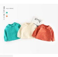 Wholesale Little Girls Baby Dolls - 2 color 2018 INS NEW ARRIVAL Girls Kids shirt long Sleeve doll collar little flower printed shirts girl baby casual spring cotton shirt