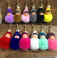 Wholesale sleeping bag cute for sale - Group buy 29 Colors Cute Sleeping Baby Doll Keychain Pompom Rabbit Fur Ball Keyring Women Bag Pendant kids Jewelry Novelty Items CCA10236