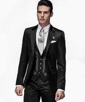 smoking cool achat en gros de-Cool Groom Wear Black Groomsmen Un bouton de smoking Tuxedos Notch Lapell Homme Costumes Mariage / Bal / Dîner Meilleur Homme Blazer (Veste + Pantalon + Cravate + Gilet)