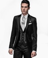 ingrosso tuxedo cool-Cool Groom Wear Nero Groomsmen One Button Smoking dello sposo Notch Lapell Men Abiti da sposa / Prom / Dinner Best Man Blazer (Jacket + Pants + Tie + Vest)