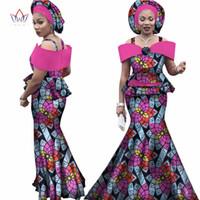 orange afrikanischen headtie großhandel-Kostenlose headtie Africa Sets für Frauen Dashiki Plus Size Africa Kleidung Bazin Kurzarm Traditionelle Afrikanische Kleidung WY3113