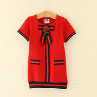 Wholesale Navy Blue Baby Bow - Kids Girl Dress 2-6T Baby Girls Striped Bow Dresses 2018 New Pink Navy Red Infant Princess Short Sleeve Dress For Party Children Clothing