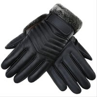 зимние кожаные перчатки мужчины оптовых-Autumn Winter Men PU Leather Thickened Touch Screen Warm Full Fingers Windproof Driving Waterproof Gloves Mittens G121