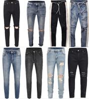 jeans großhandel-2018 NEUE Mode Hip Hop Ripped Destroyed Männer Loch Jeans Biker Weiß Streifen Nähen Bottom Side Reißverschluss Jeans Schwarz Blau 18 Stil 30-36