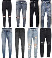 jeans blancs zippés hommes achat en gros de-2018 NOUVEAU Mode Hip Hop Déchiré Détruit Hommes Hole Jeans Biker Blanc rayures couture Bas Fermeture Éclair Côté Jeans Noir Bleu 18 style 30-36