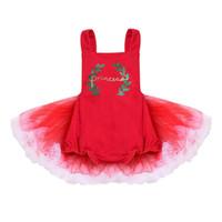 vestido de fiesta rojo infantil al por mayor-Recién nacido Bebé Niñas Mono Princess Party Lace Tutu Mini vestido Outfit sin mangas Rojo 0-24M
