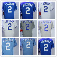 Wholesale Cool Cities - Kansas City 2 Alcides Escobar Men Baseball Jersey Cream White Grey Baby Blue Dark Pullover Cool Base Stitched Home Away