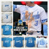 a4b176275 Custom North Carolina Tar Heels College Baseball White Blue UNC Stitched  Any Number Name 15 Michael Busch 2018 CWS Patch NCAA Jerseys S-4XL